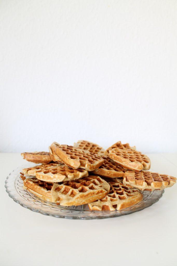 waffles, heart, food